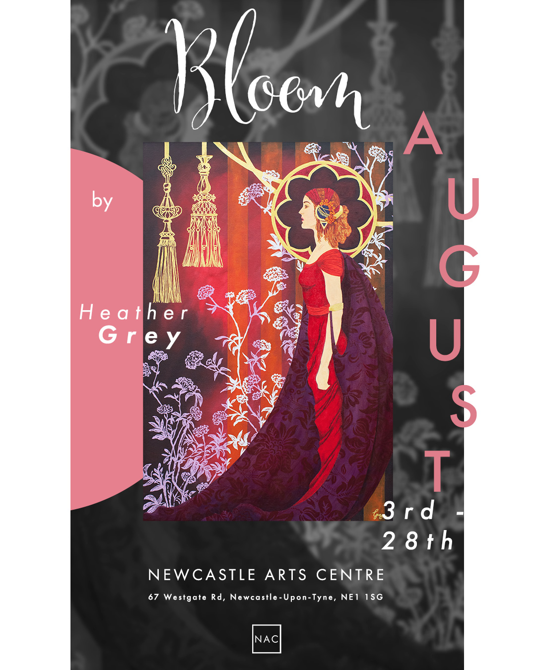 Heather Grey-exhibition-poster-Newcastle-Arts-Centre-Bloom-August