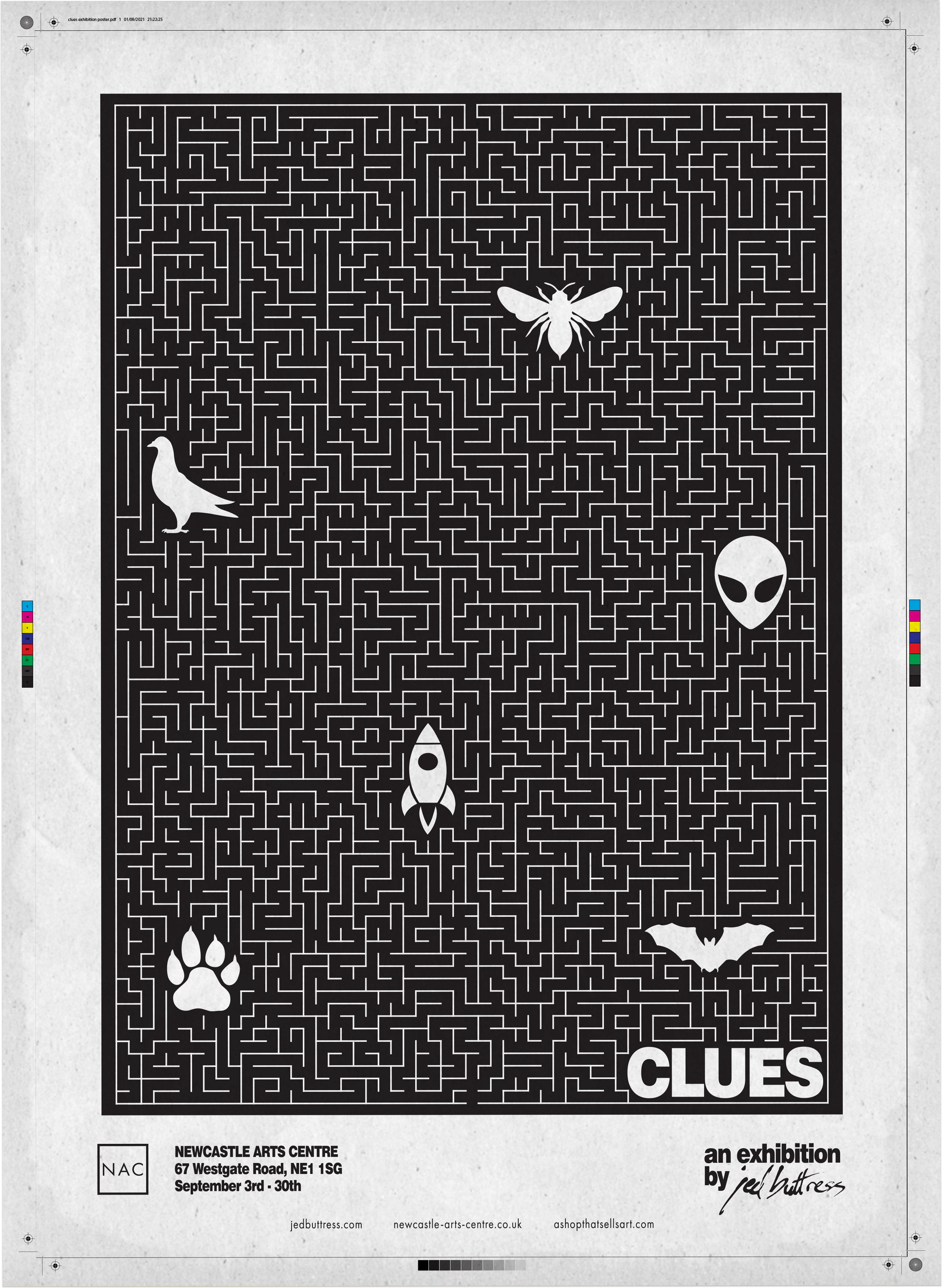 Clues-Exhibition-Poster-Jed-Buttress-Newcastle-Arts-Centre
